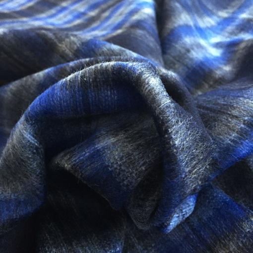 Ткань костюмная шерстяная Burberry клетка в синих тонах