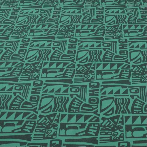 Костюмная ткань с печатным рисунком зеленого цвета
