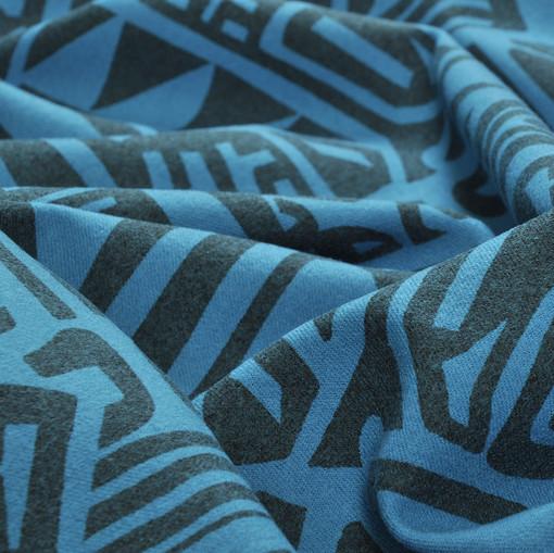 Костюмная ткань с печатным рисунком ярко-голубого цвета