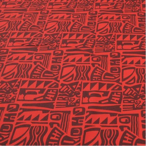 Костюмная ткань с печатным рисунком ярко-красного  цвета