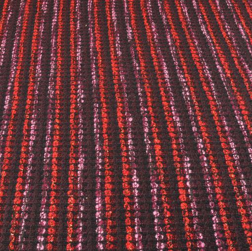 Костюмно-пальтовая шанель в красно-баклажановых тонах с люрексом
