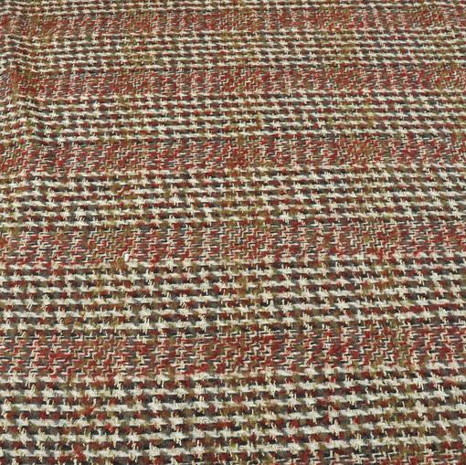 Костюмно-пальтовая ткань в коричнево-зелено-черную гусиную лапку