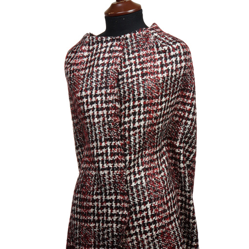 Костюмно-пальтовая ткань красно-бело-черная гусиная лапка