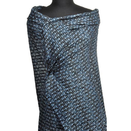 Эксклюзивная костюмная нарядная ткань серо-голубого цвета с люрексом