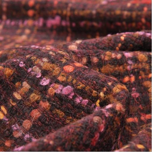 Костюмно-пальтовая шерстяная шанель бордового цвета в розово-кросно-желтую клетку