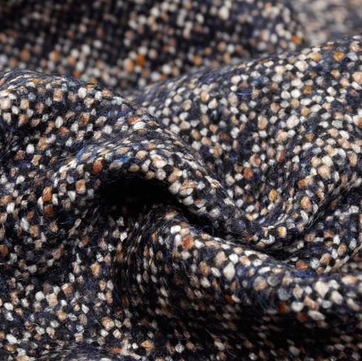 Пальтово-костюмный твид черно-песочная крапина
