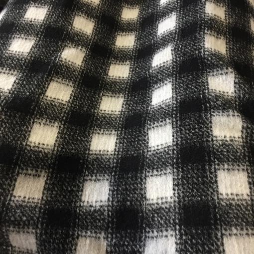 Ткань пальтовая принт Burberry в черно-молочных тонах