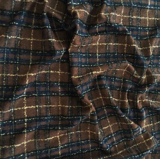 Ткань пальтовая Burberry клетка в шоколадно-синих тонах