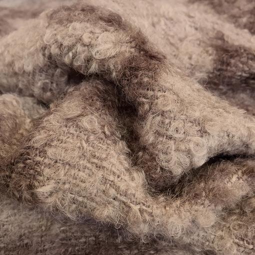 Ткань пальтовая букле Burberry цвета какао с разводами
