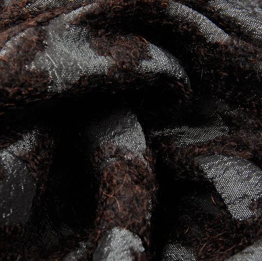 Пальтовая ткань гусиная лапка темно-коричневого цвета с мохером и тафтой