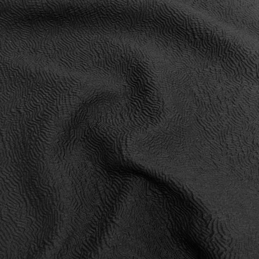 Жаккард шерстяной ажурный черного цвета