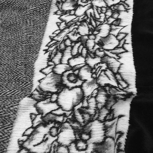 Трикотаж смесовый плотный продольный серо-черный купон