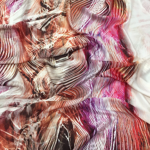 Шелк атлас легкий купон Philipp Plein абстрактные полосы