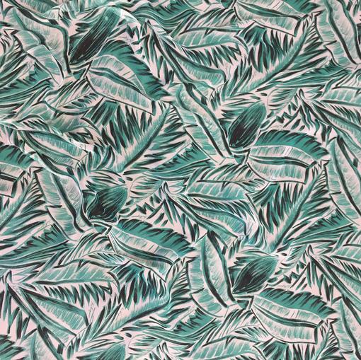 Шелк шифон креш принт Les Copains тропические листья