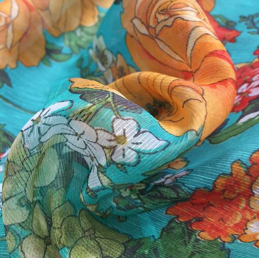 Шелк с хлопком принт Blumarine цветочная поляна на бирюзовом фоне