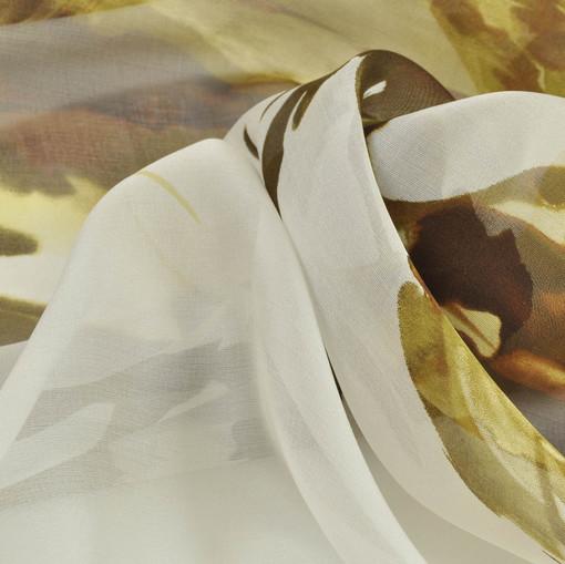 Шелк шифон прозрачный с атласным блеском шоколадно-тобачные цветы и листья