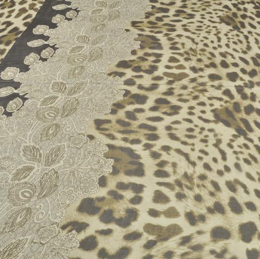 Шелк шифон леопардовый с купоном под кружево