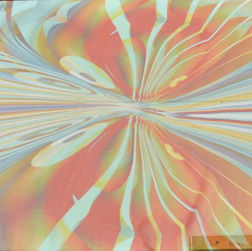 Яркий шелк шифон креш стрейч с рисунком в красно-голубых тонах