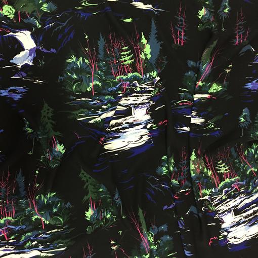 Вискоза плательная мягкая акварельный пейзаж на черном фоне