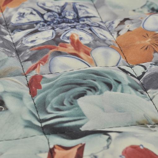 Стеганная курточная двухсторонняя ткань с рисунком цвета морской волны