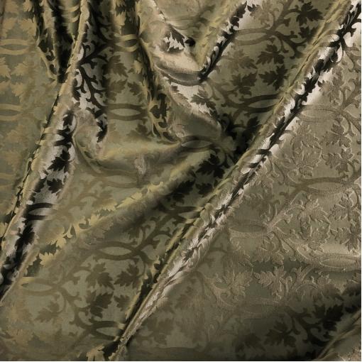 Бархат вискозный дизайн Versace листья и вензеля на болотном фоне