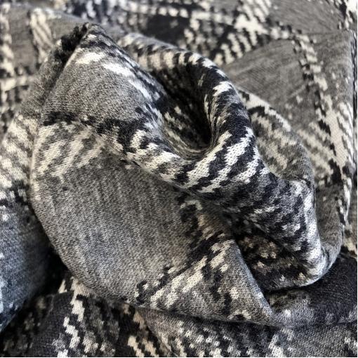 Джерси шерстяное стрейч Hermes стилизованная клетка на средне-сером фоне