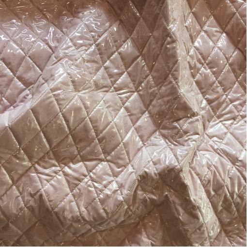 Мех искусственный стрейч пыльно-розового цвета с прозрачной плащевой тканью