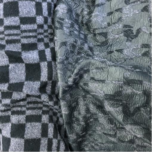 Лоден курточный шерстяной Sportmax геометрия в сине-серых тонах