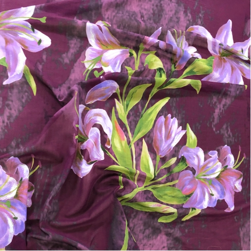 Батист хлопковый принт ETRO купон сиреневые лилии