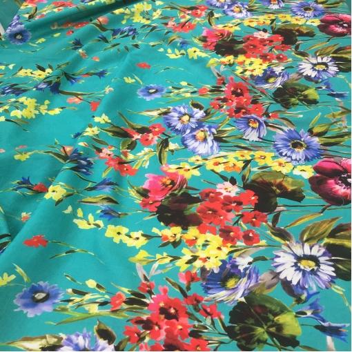 Хлопок плательный принт Blumarine продольный цветочный купон на бирюзовом фоне