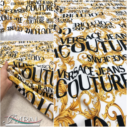 Хлопок рубашечный стрейч принт Versace золотые вензеля на молочном фоне