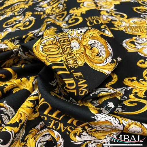 Хлопок рубашечный стрейч принт Versace золотые и белые вензеля на черном  фоне