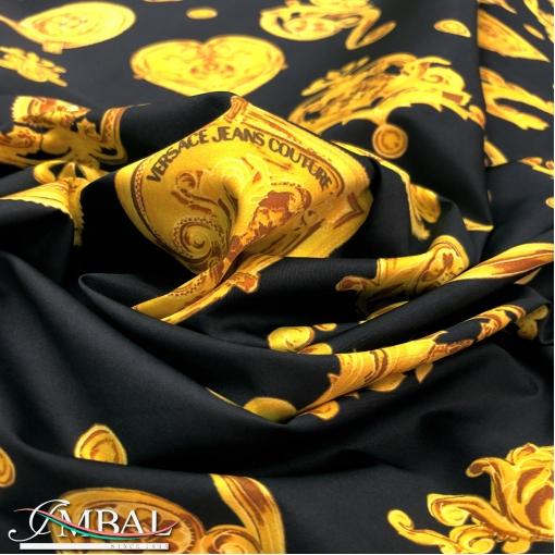 Хлопок рубашечный принт Versace желтые сердца на черном  фоне