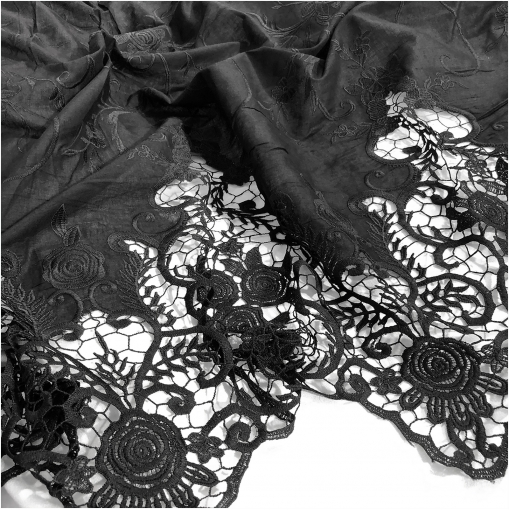 Хлопок тонкий с вышивкой и фестоном черного цвета