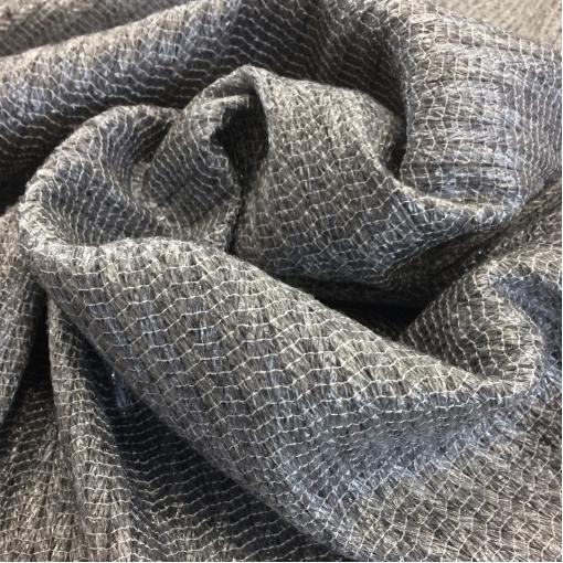 Жаккард нарядный шерстяной принт Ferragamo серого цвета с прозрачным люрексом