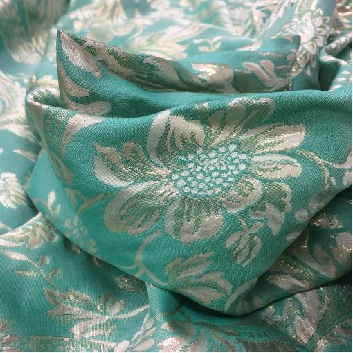Жаккард нарядный Alberta Ferretti бирюзово-люрексовый растительный орнамент