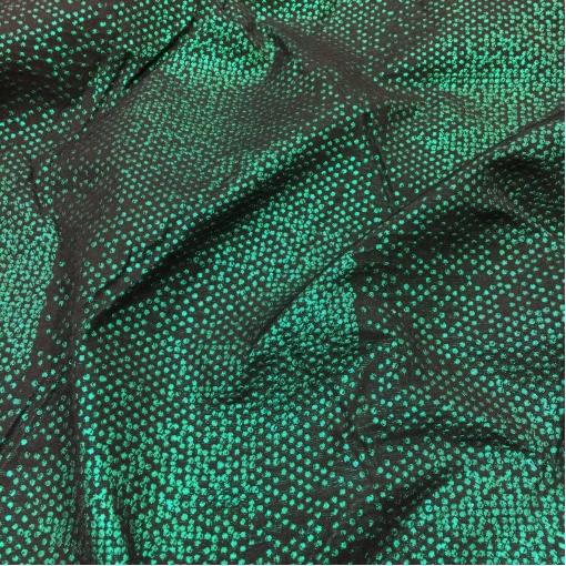 Жаккард нарядный дизайн D&G черно-зеленые люрексовые горошки