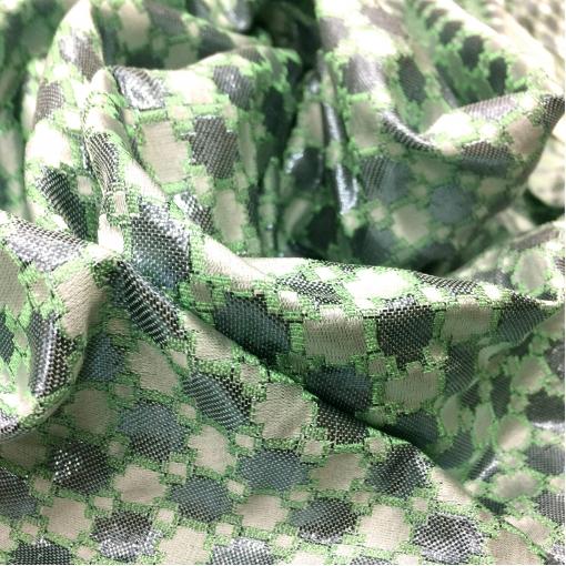 Жаккард нарядный Prada салатово-серебристый орнамент
