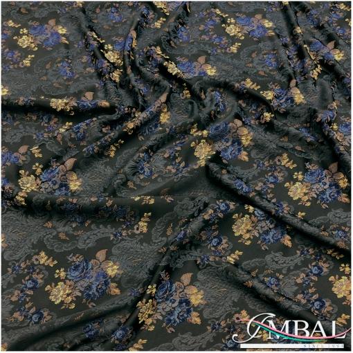 Жаккард нарядный стрейч сине-желтые цветы на черном атласе
