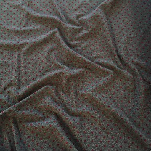 Ткань костюмная шерстяная Sportmax с бархатными горошками на темно-сером фоне