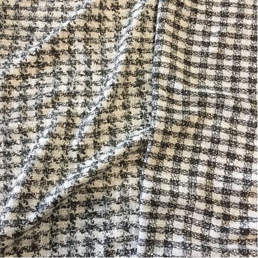 Ткань костюмная шерстяная дизайна Louis Vuitton черно-белая клетка
