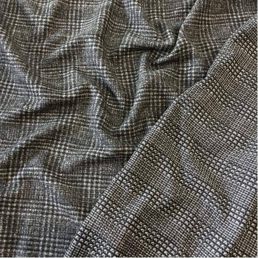Ткань костюмная шерстяная дизайна Louis Vuitton серо-черная клетка