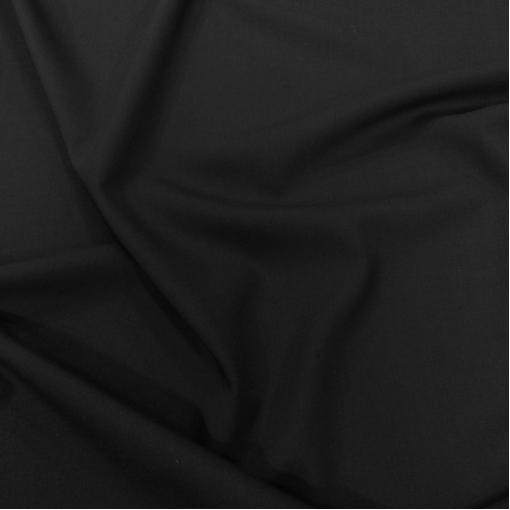 Ткань костюмная шерстяная стрейч Cerruti черного цвета
