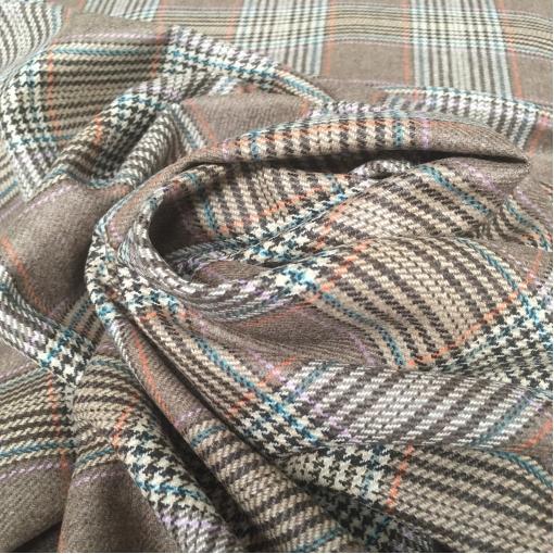 Ткань костюмная шерстяная крупный бежево-кофейный пье-де-пуль