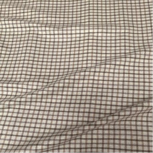 Ткань костюмная шерстяная черно-коричневая клеточка на сером фоне