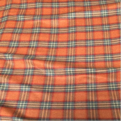 Ткань костюмная шерстяная оранжево-серого цвета в клетку