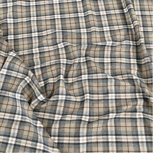 Ткань костюмная шерстяная Burberry шоколадная клетка на серо-бежевом фоне