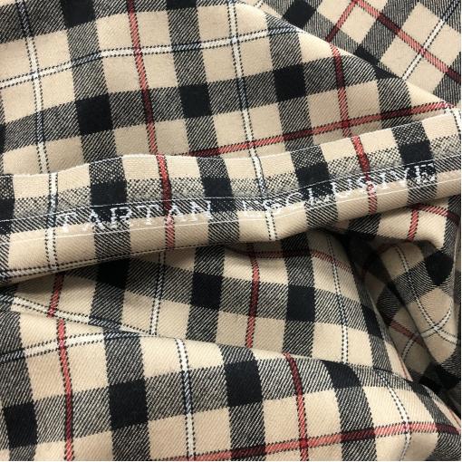 Ткань костюмная шерстяная Burberry правильная клетка на бисквитном фоне