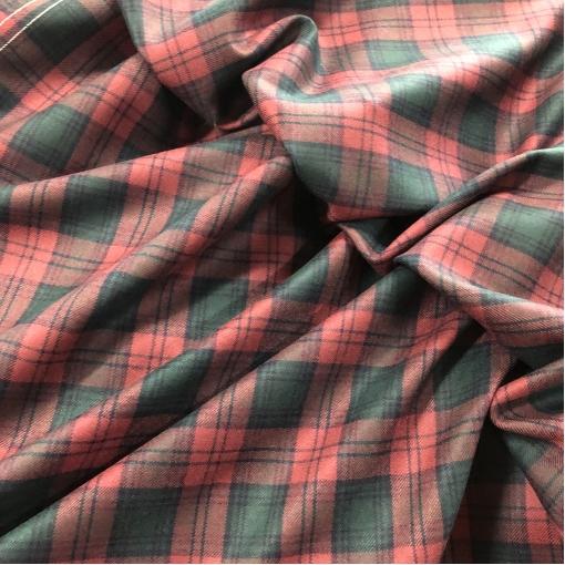 Ткань костюмная шерстяная Burberry правильная клетка на брусничном фоне