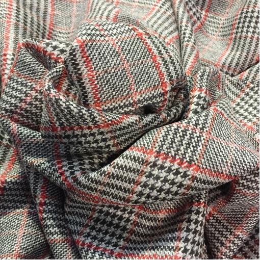 Ткань костюмная шерстяная серая клетка пье-де-пуль с красной нитью